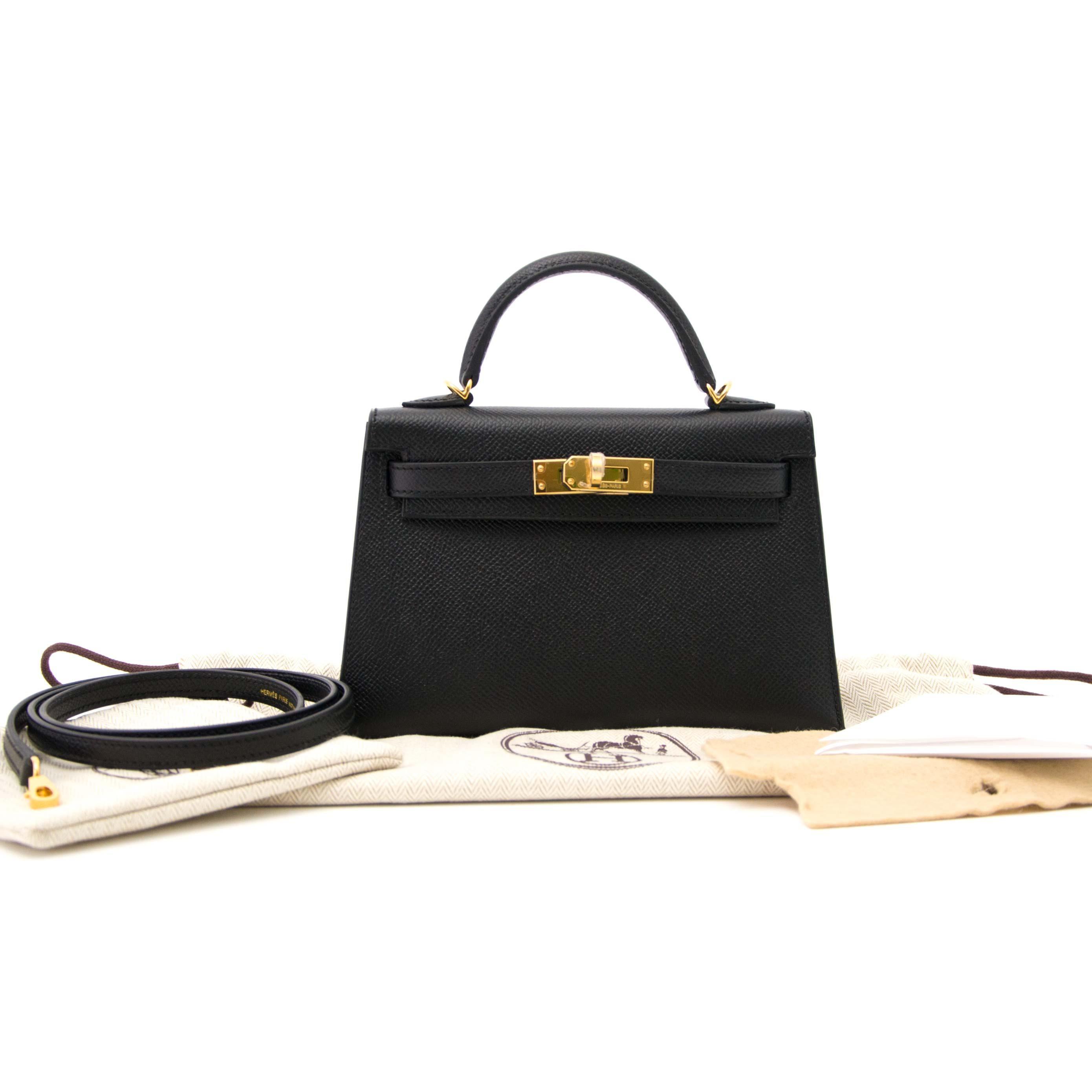 71a0f102523e ... new zealand hermes kelly mini ii 20cm black epsom ghw bag for sale 3  ff510 33173