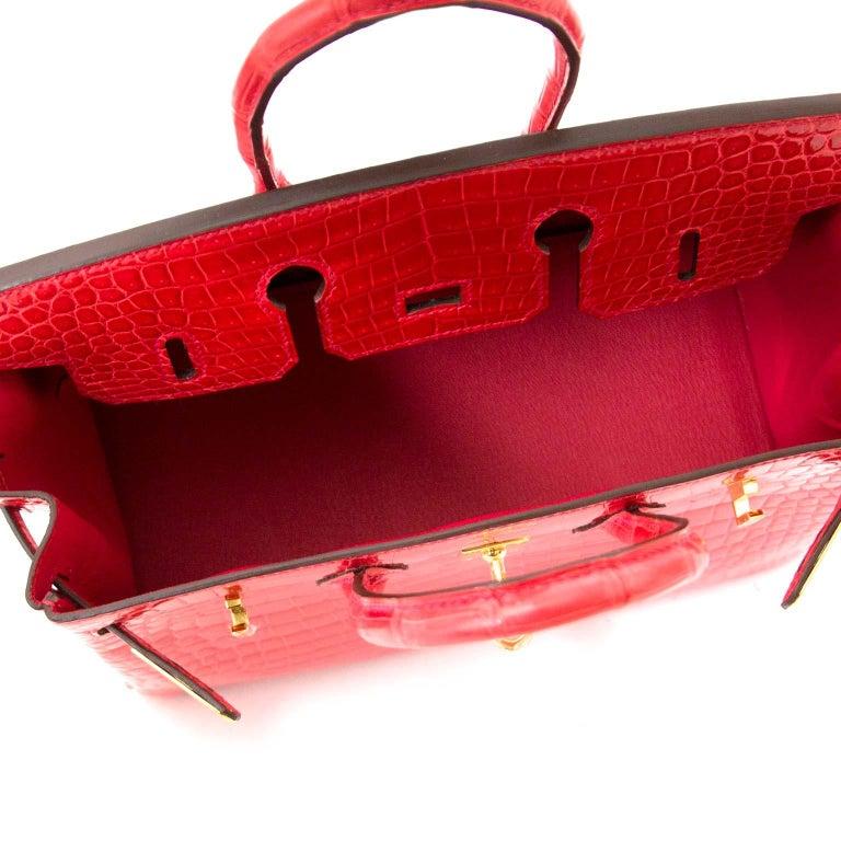 6b5a564acdf BRAND NEW Hermès Birkin 25 Crocodile Porosus Bougainvillier GHW For Sale 3