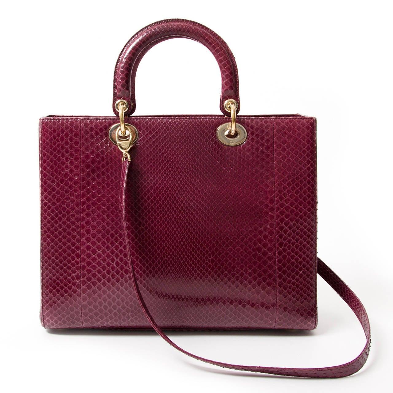 Brown Lady Dior Mauve Python Bag For Sale