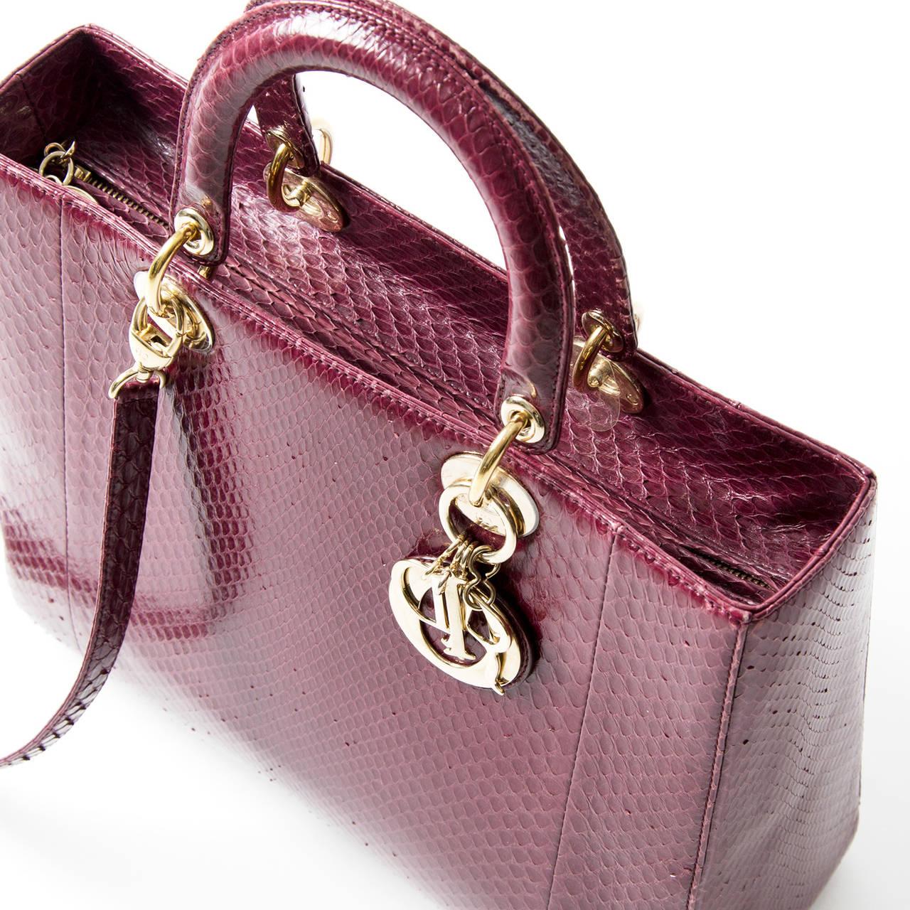 Lady Dior Mauve Python Bag For Sale 1