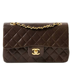 Chanel Small Classic Flap Bag in Chocolate Brown GHW