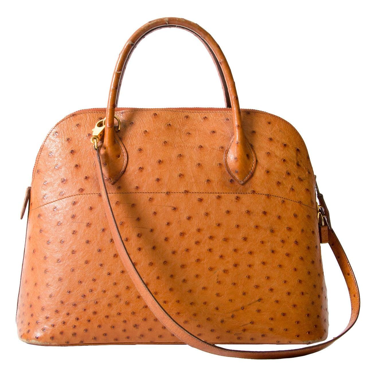 Hermès Bolide Cognac Ostrich Bag For