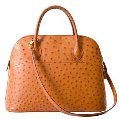 Hermès Bolide Cognac Ostrich Bag