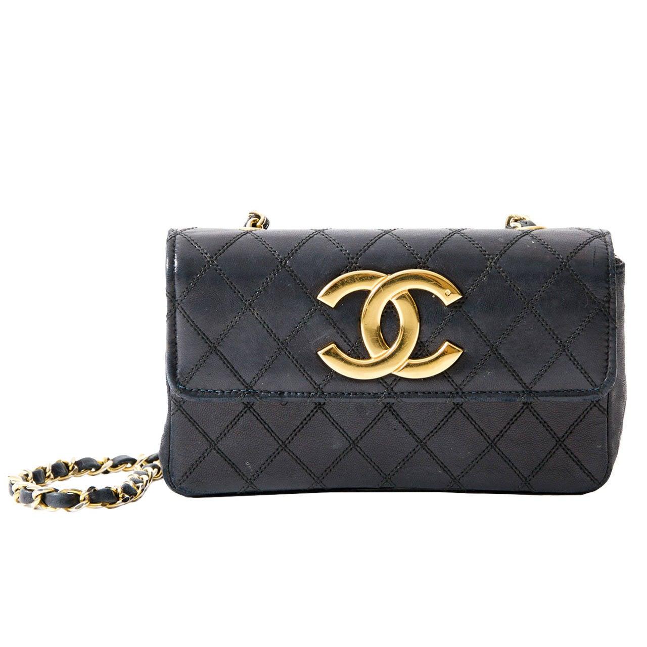 Chanel handbag superb vintage chanel bag vintage leather - Chanel Vintage Small Quilted Black Flap Bag 1