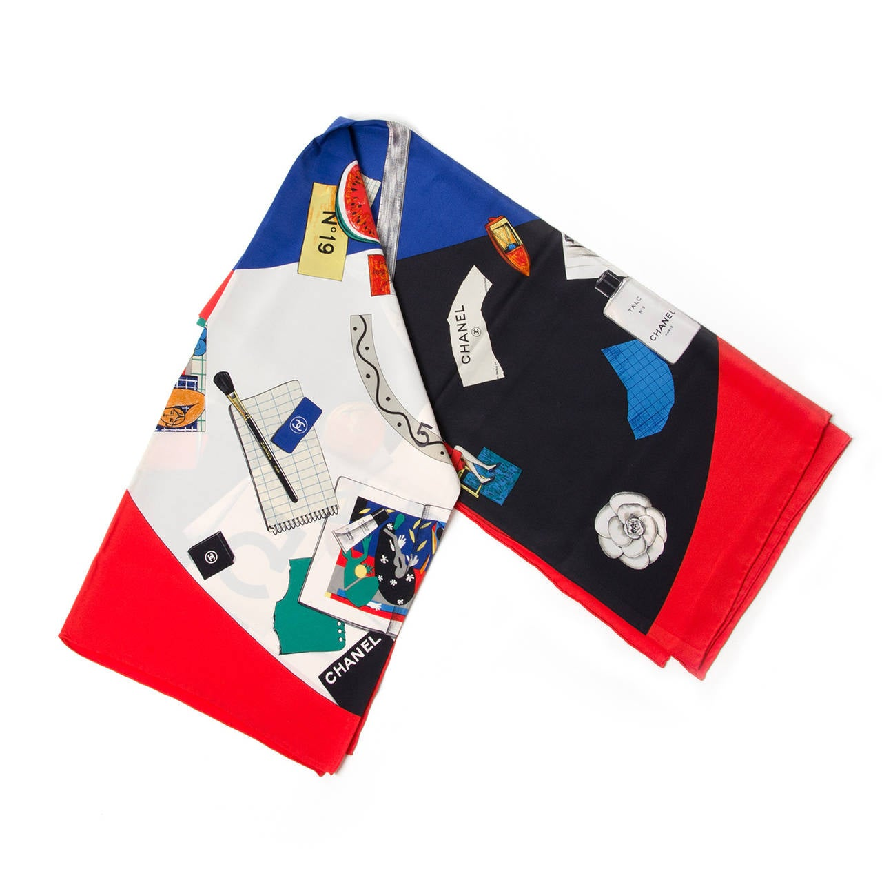 Chanel Carré Red and Blue Silk Scarf 2