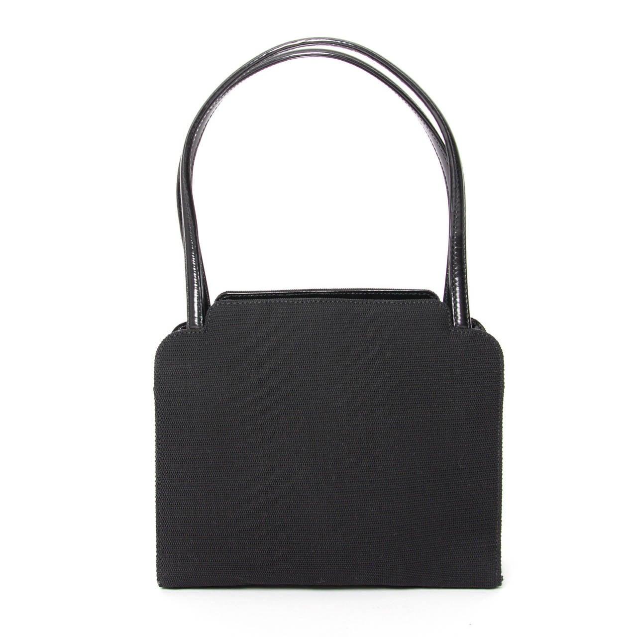 gucci black vintage canvas handbag at 1stdibs
