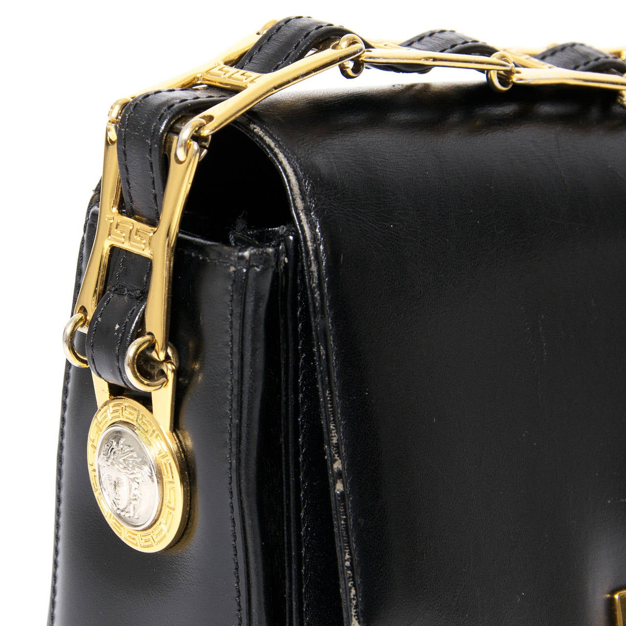Gianni Versace Black Leather Medusa Handbag For Sale 1