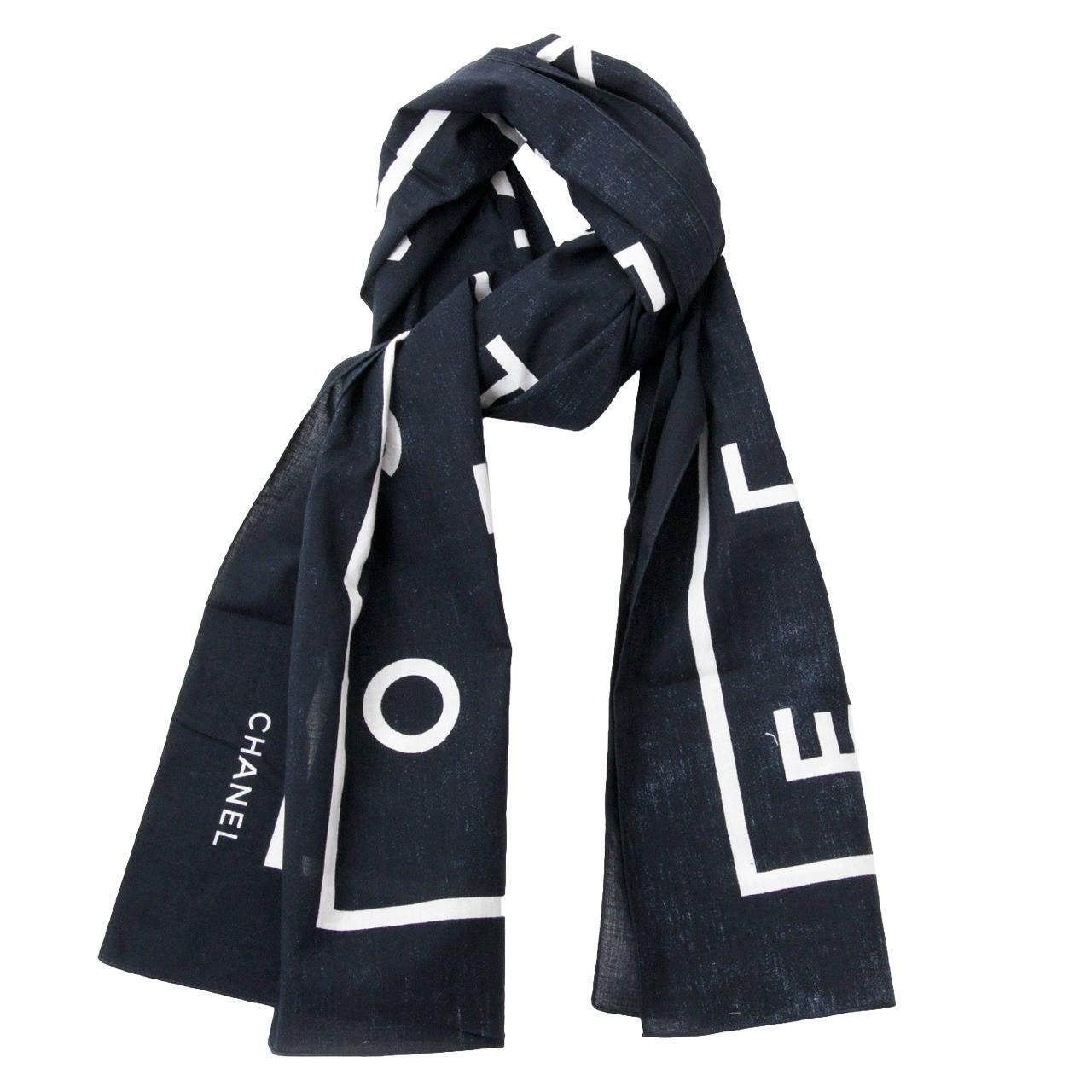 chanel black letter scarf at 1stdibs