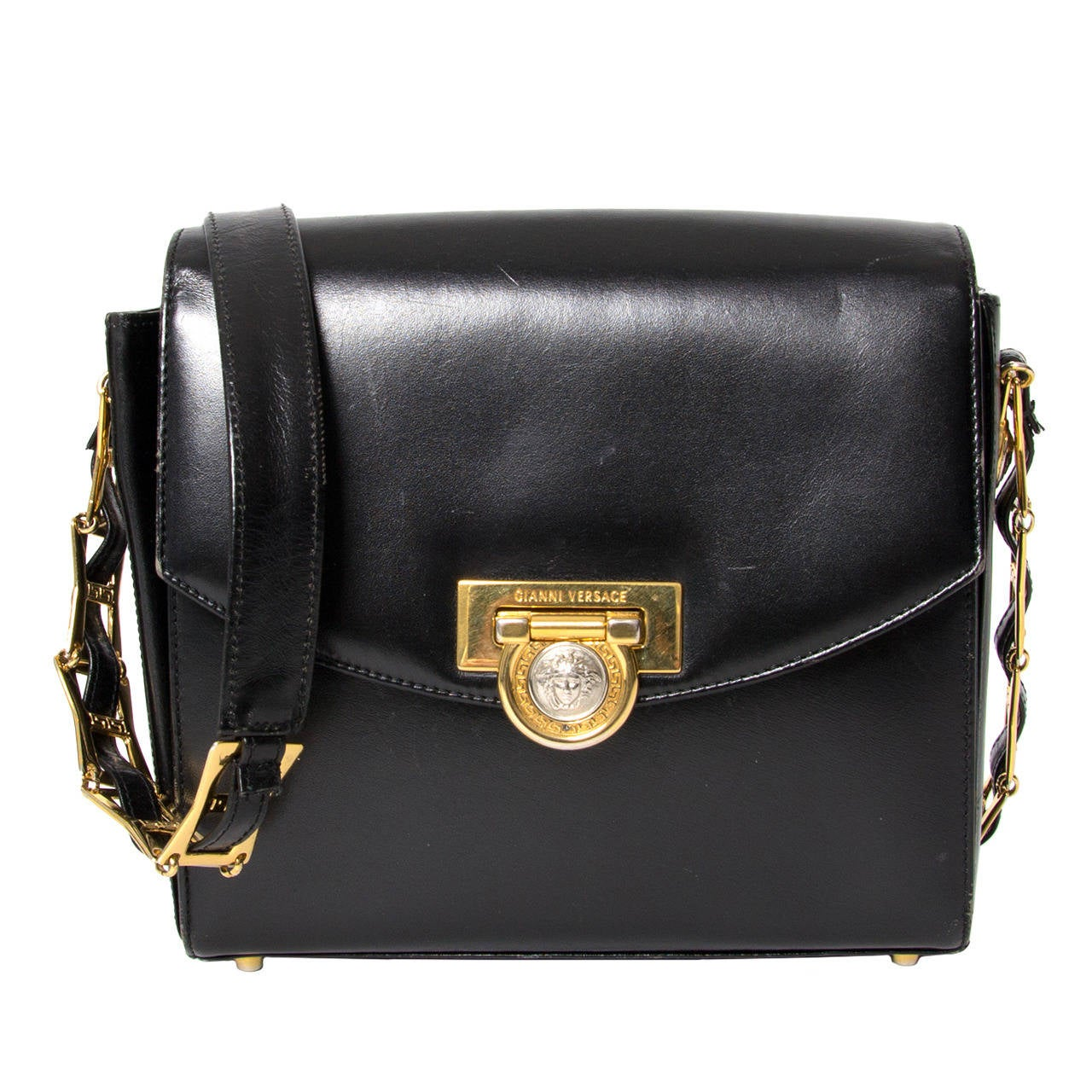 Gianni Versace Black Leather Medusa Handbag For Sale