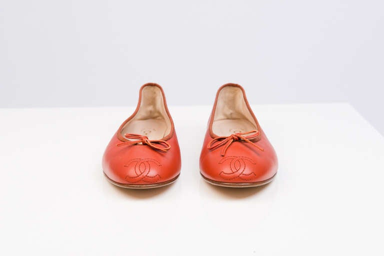Chanel Red Ballerina Flats 2