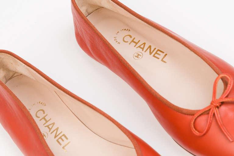 Chanel Red Ballerina Flats 4