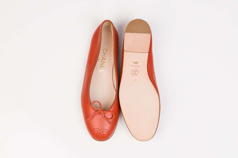 Chanel Red Ballerina Flats 5
