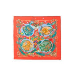 Hermes Tropical Fish Print Silk Scarf