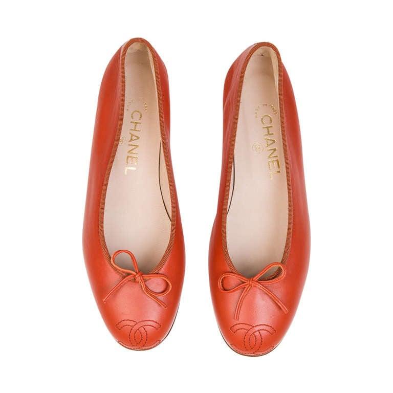 Chanel Red Ballerina Flats 1