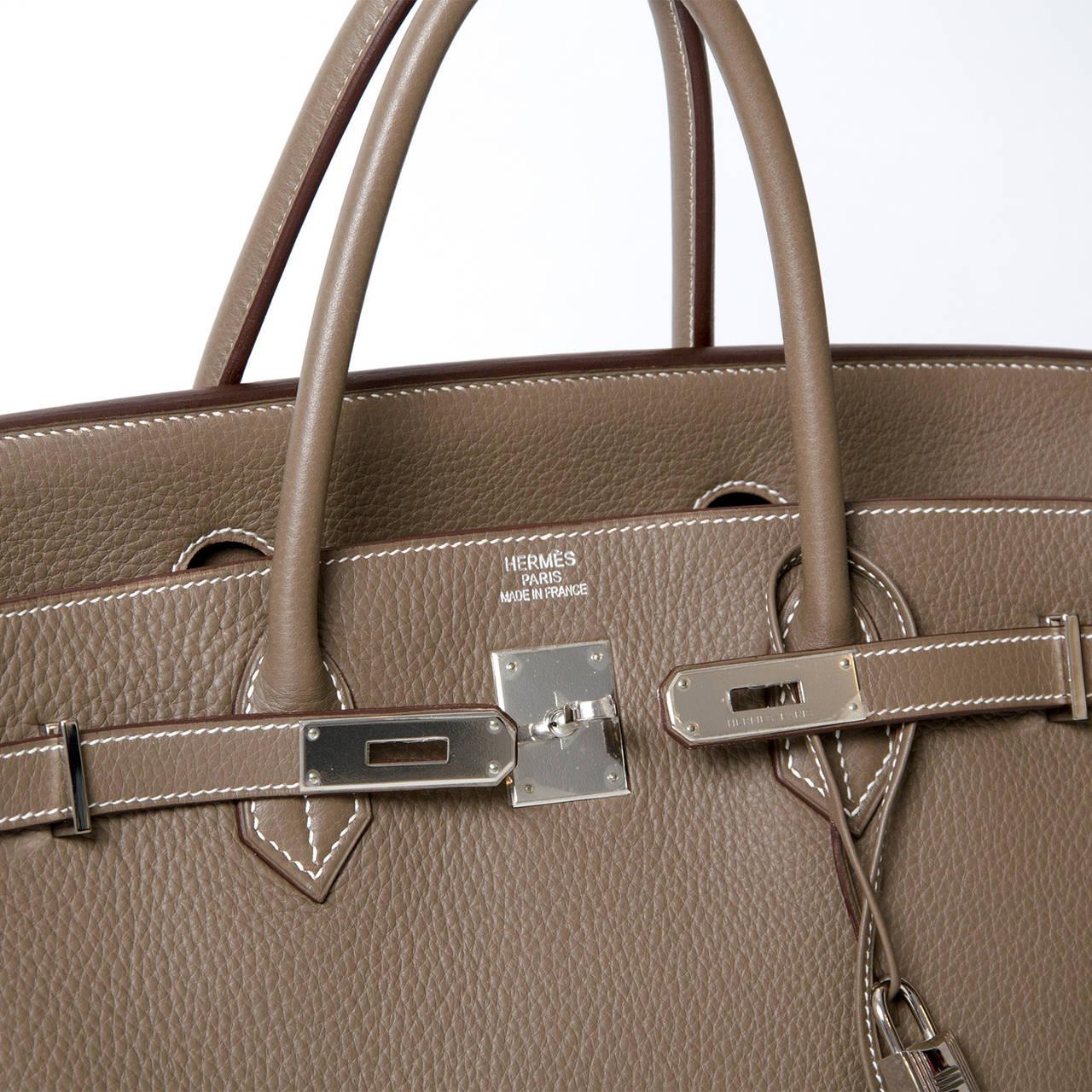 Hermès Birkin Bag 40cm Togo Etoupe Grey PHW 6