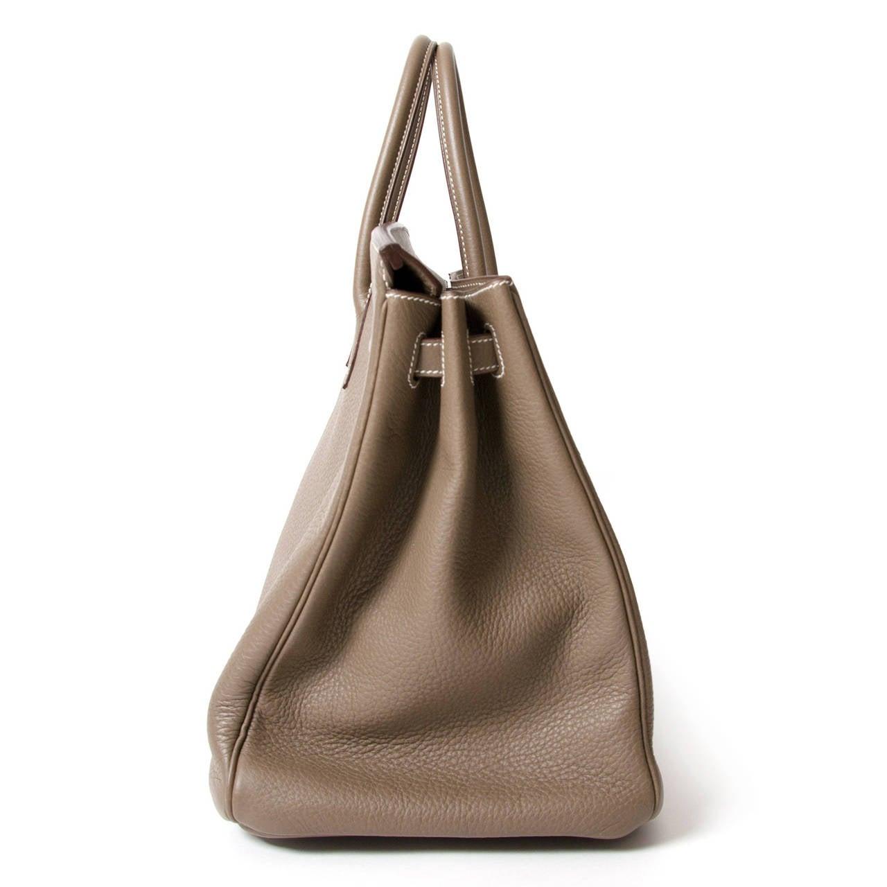 Hermès Birkin Bag 40cm Togo Etoupe Grey PHW 3