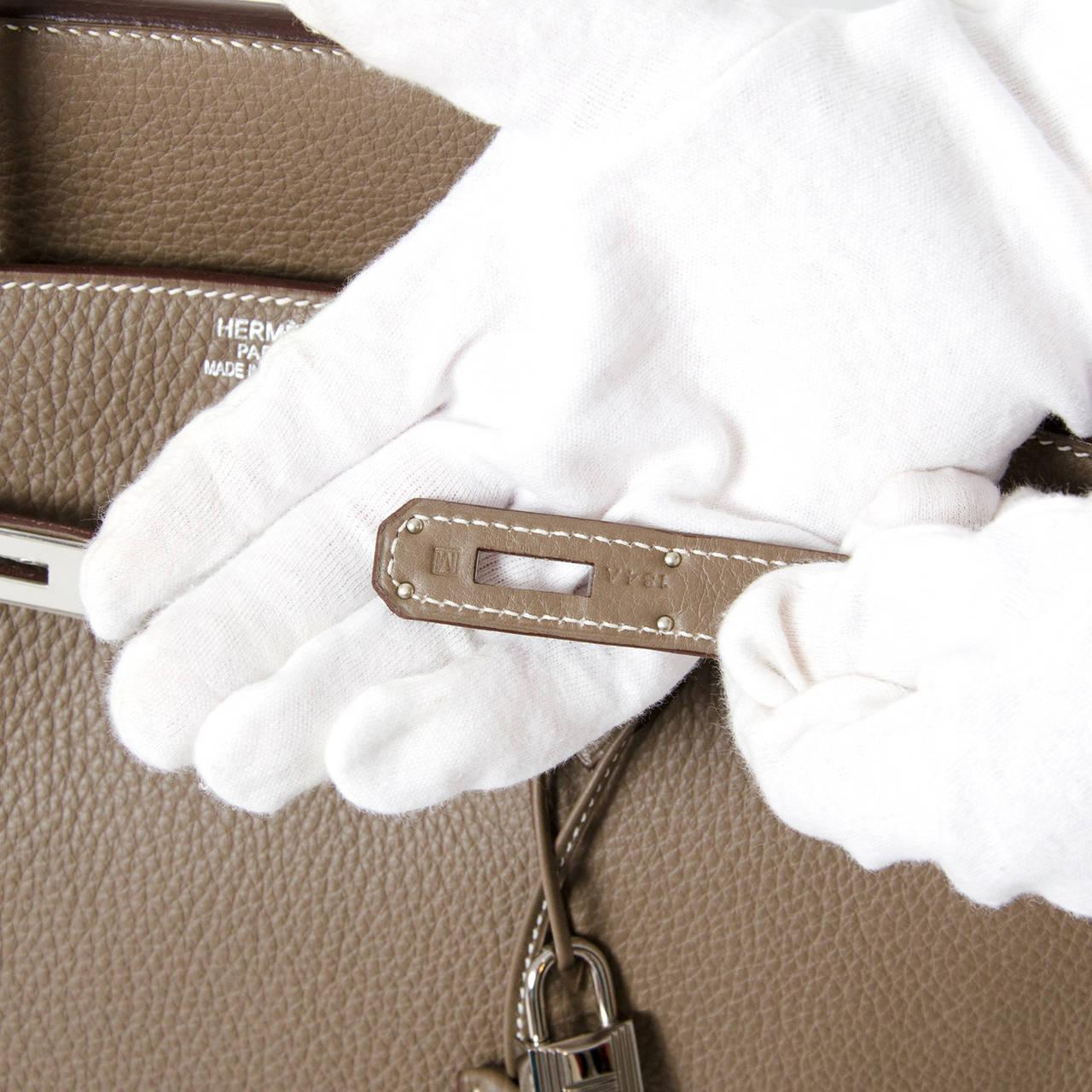 Hermès Birkin Bag 40cm Togo Etoupe Grey PHW 5