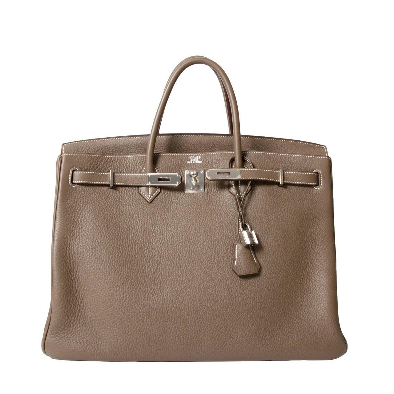Hermès Birkin Bag 40cm Togo Etoupe Grey PHW 1