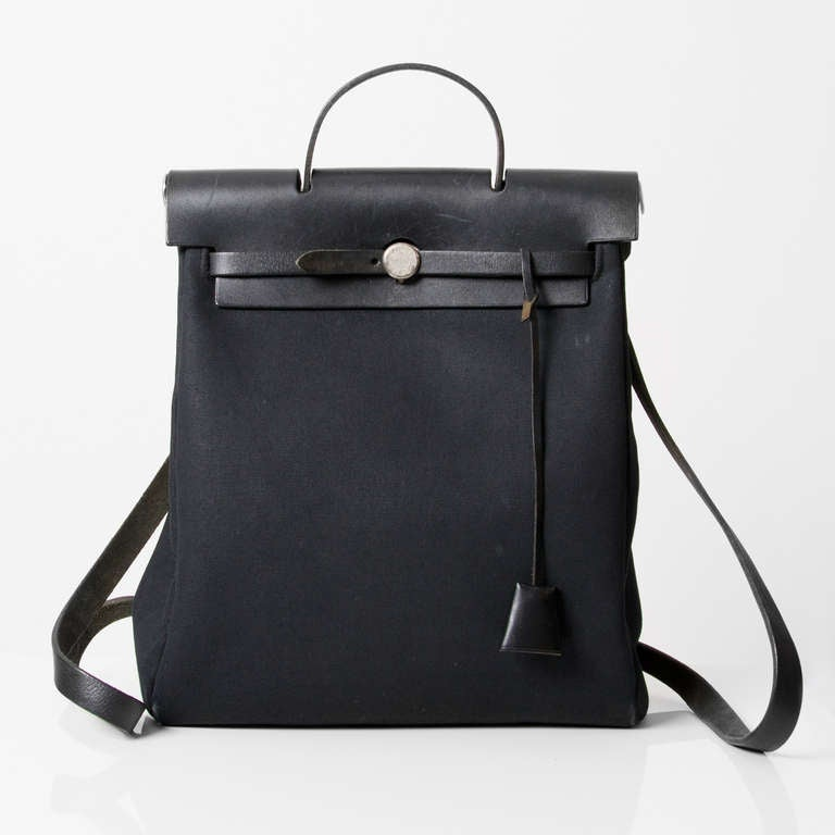 Hermes Herbag Black Toile 2 in 1 Backpack at 1stdibs