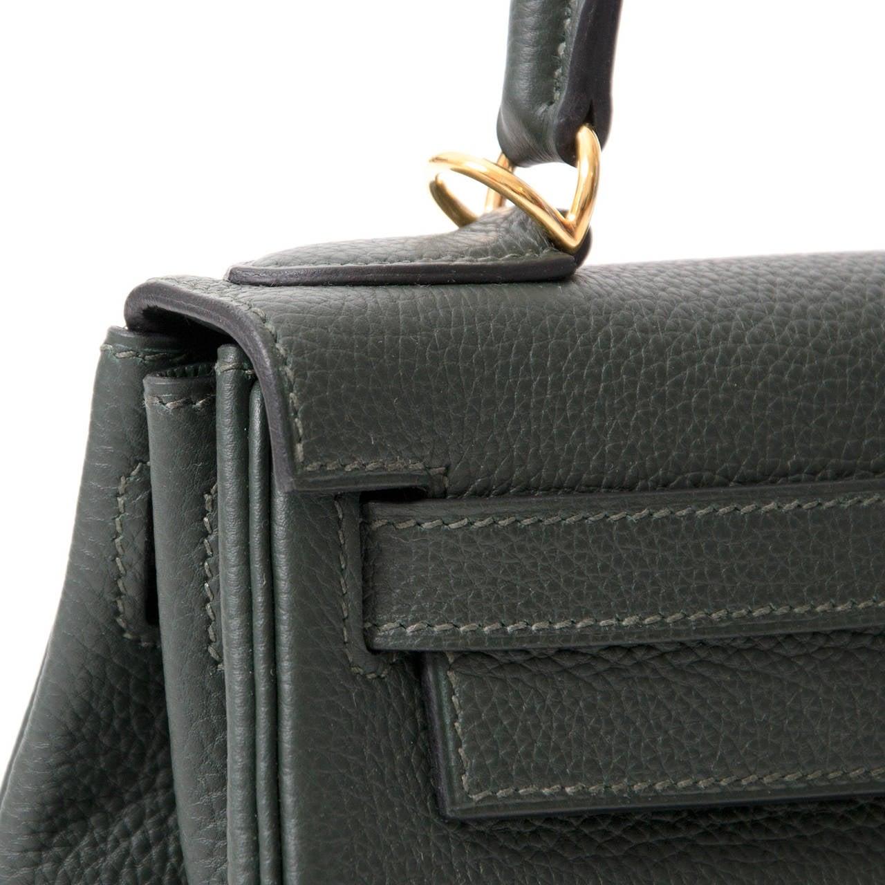 Brand New Hermès Kelly Bag 28 Togo Vert Fonce Ghw With Shoulder Strap For 1