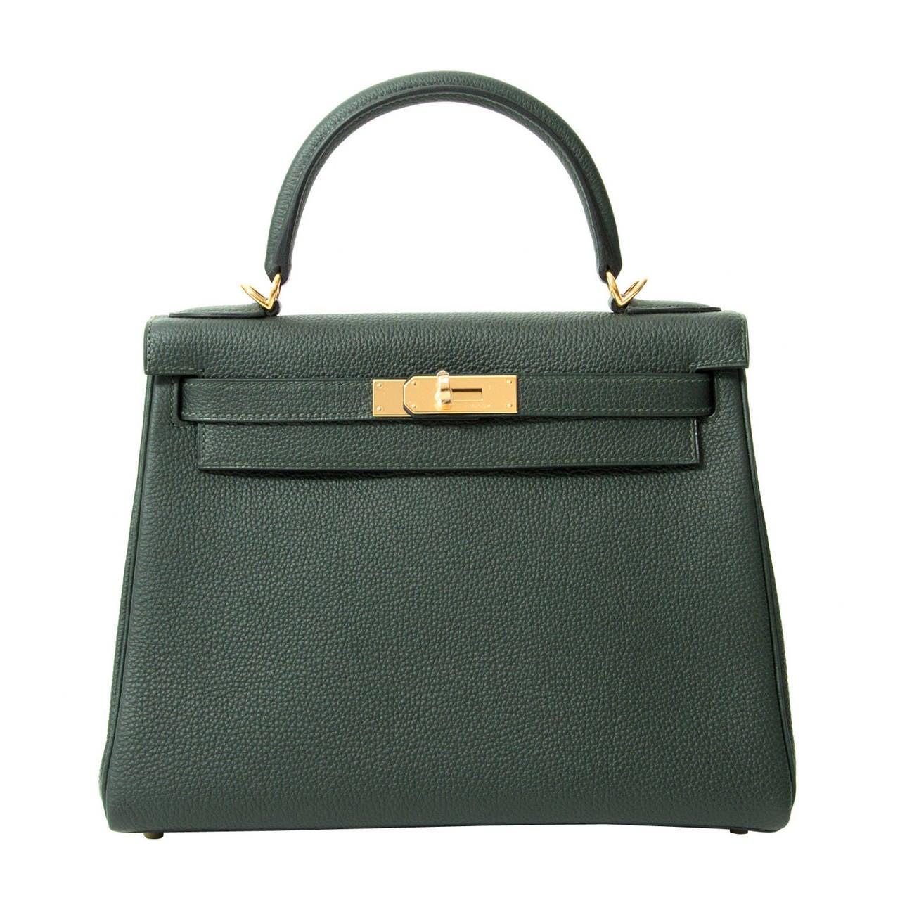 d2109072cb61 BRAND NEW Hermès Kelly Bag 28 Togo Vert Fonce GHW With Shoulder Strap For  Sale
