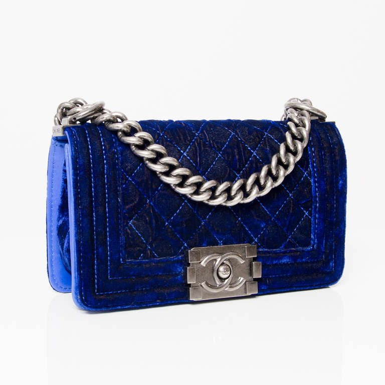 7c0bbcd62a5e59 Chanel Boy Flap Bag. Electric blue velvet and gunmetal aged silver  hardware. Double C