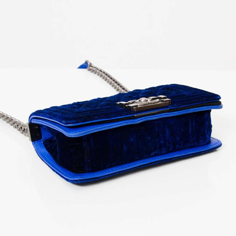 Chanel Boy Flap Bag Blue Velvet 20 4