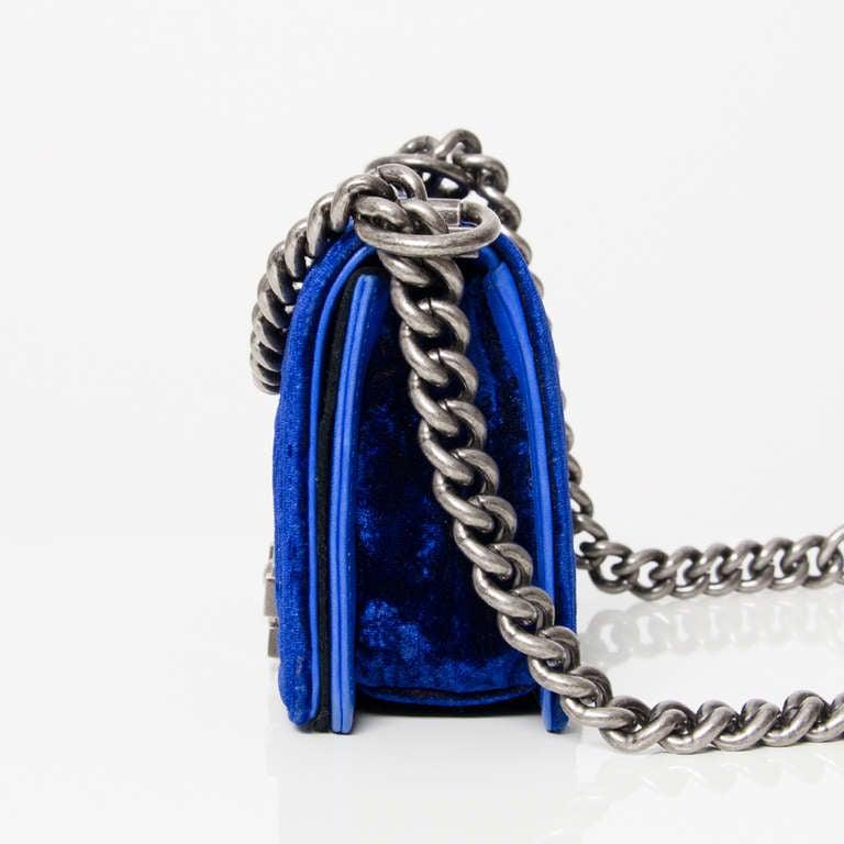 Chanel Boy Flap Bag Blue Velvet 20 5