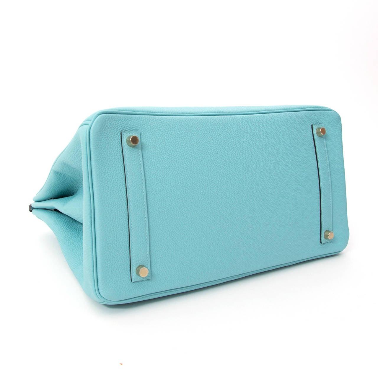 b6d3a38df21e Women s BRAND NEW Hermès Birkin Togo Bleu Atoll GHW 35 For Sale