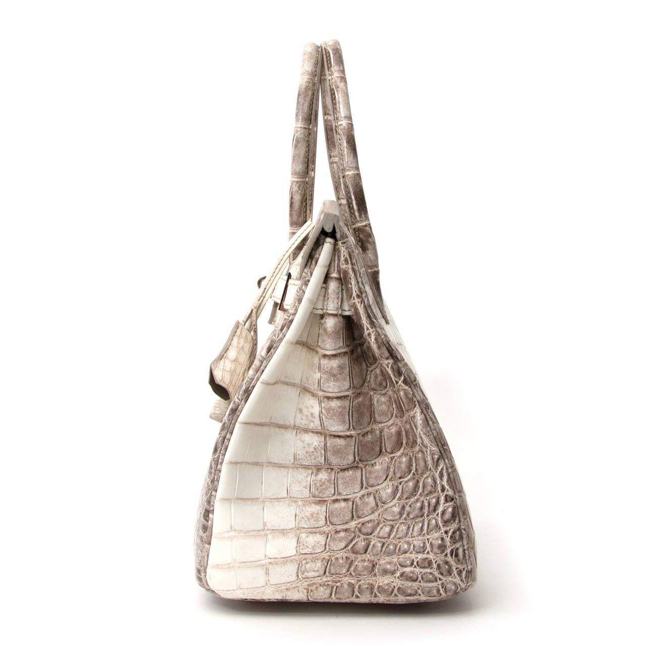 dc5be0e7a5 Beige Hermès Birkin Bag Crocodile Niloticus Himalaya Handbag White PHW 30  For Sale