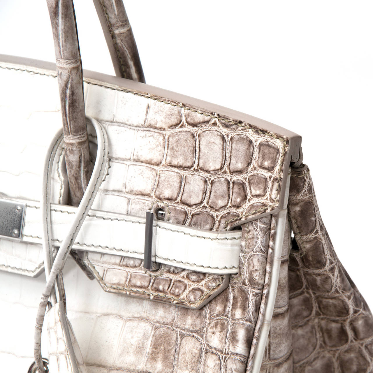 57bbd52d25 Hermès Birkin Bag Crocodile Niloticus Himalaya Handbag White PHW 30 For  Sale 2