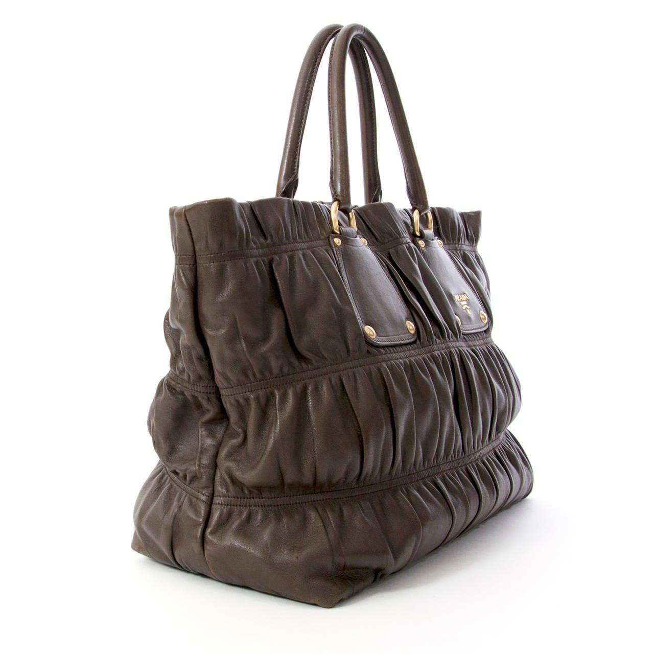 Prada Brown Gaufre Bag at 1stdibs