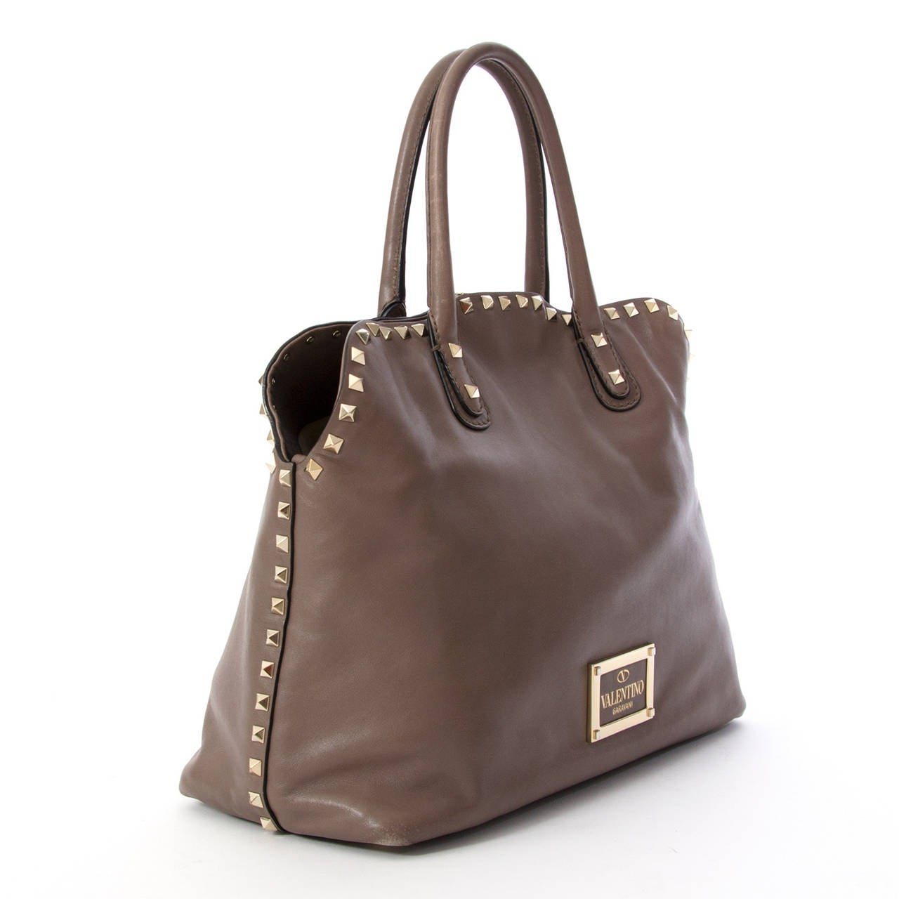Valentino Taupe Rockstud Dome Bag At 1stdibs