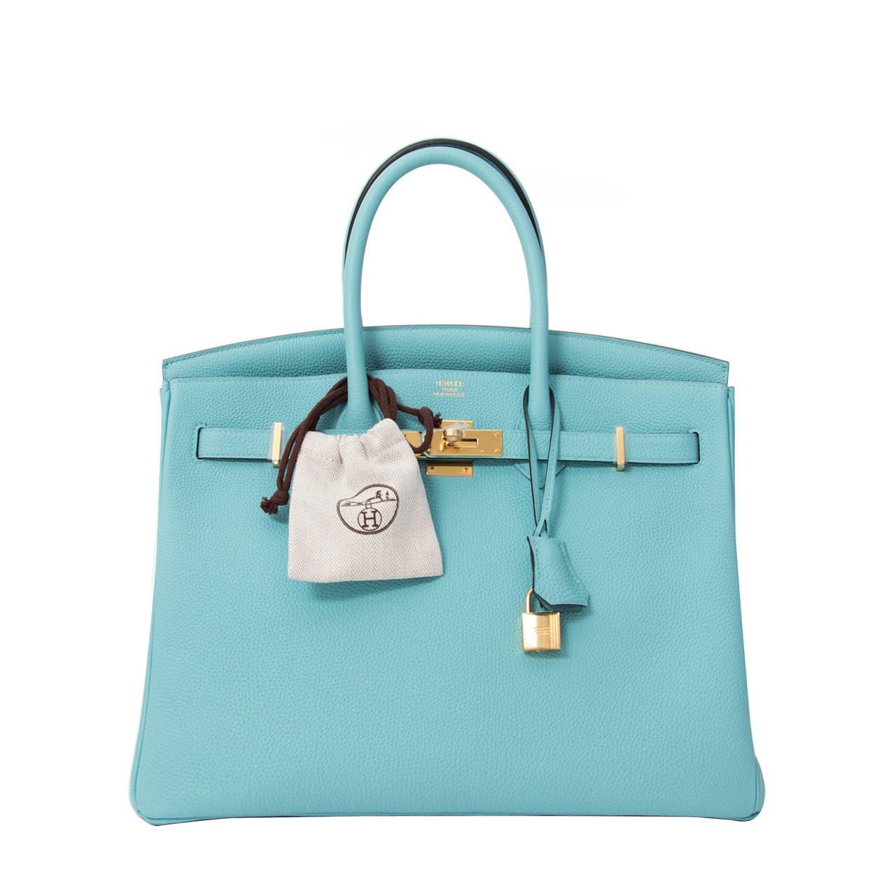 9b3c6c50489d BRAND NEW Hermès Birkin Togo Bleu Atoll GHW 35 at 1stdibs