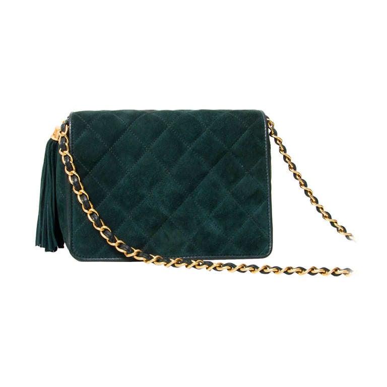 Chanel Green Suede Flap Shoulder Bag at 1stdibs
