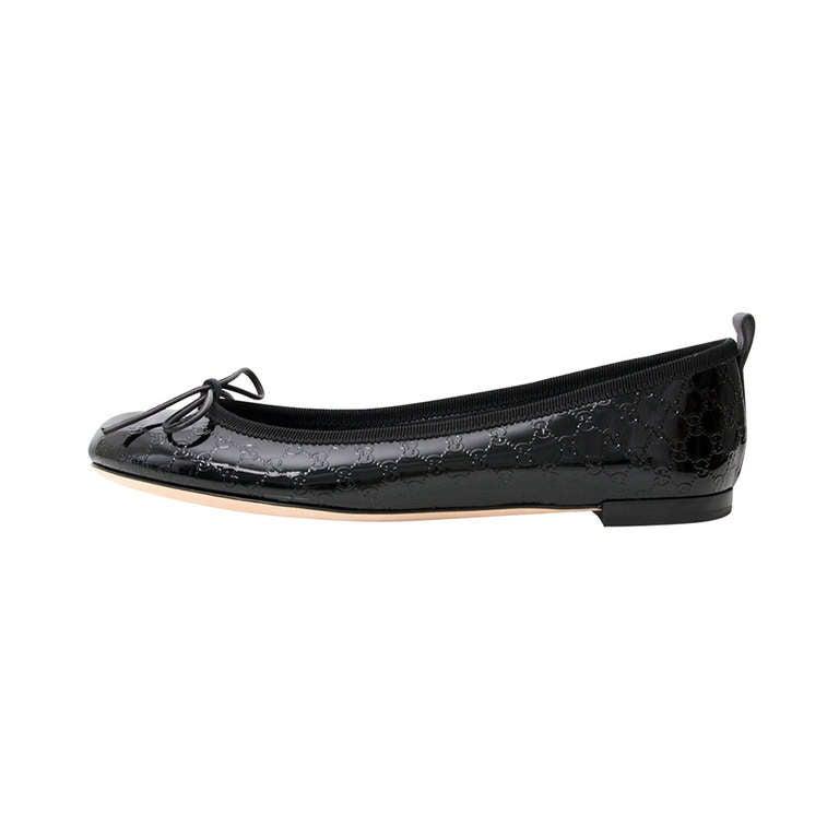 Christine Black Patent Nappa Leather Dip Dyed Cap Toe Ballerina Flats.