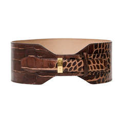 Céline Brown Croc Embossed Waist Belt