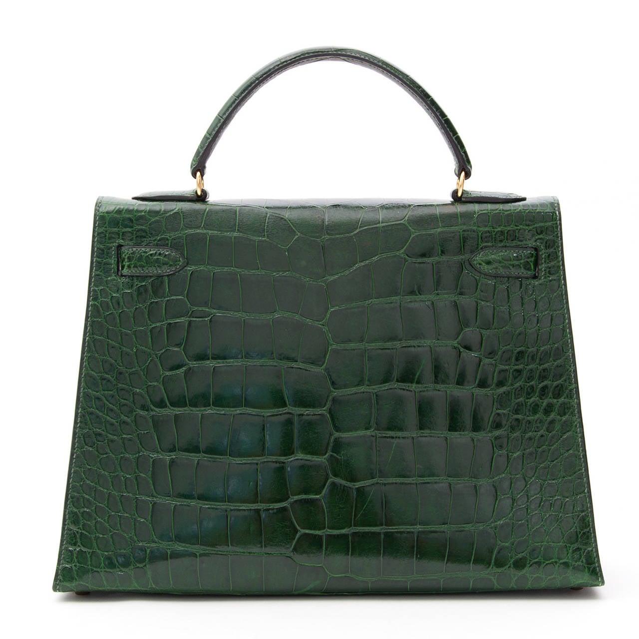 Hermes Kelly Alligator Lisse Vert Emerald  32 4
