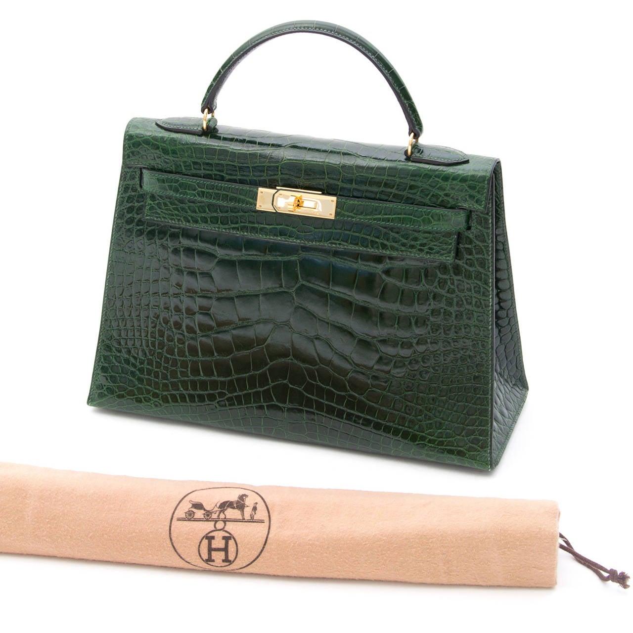 Hermes Kelly Alligator Lisse Vert Emerald  32 5