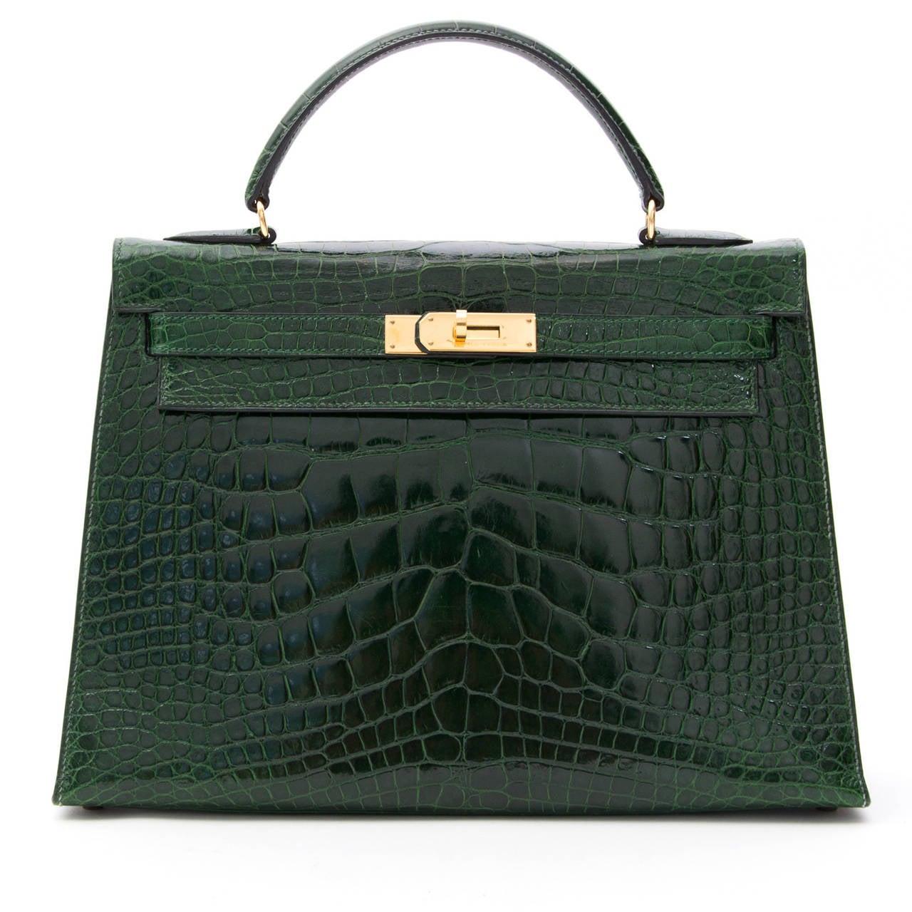 Hermes Kelly Alligator Lisse Vert Emerald  32 6