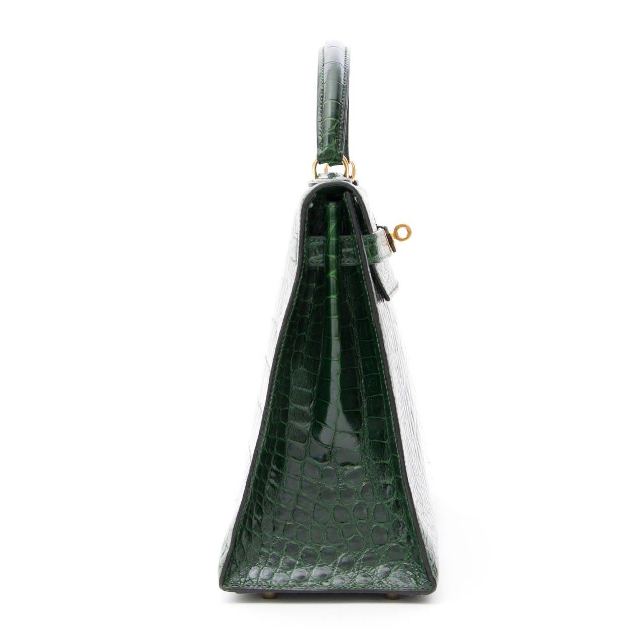 Hermes Kelly Alligator Lisse Vert Emerald  32 3