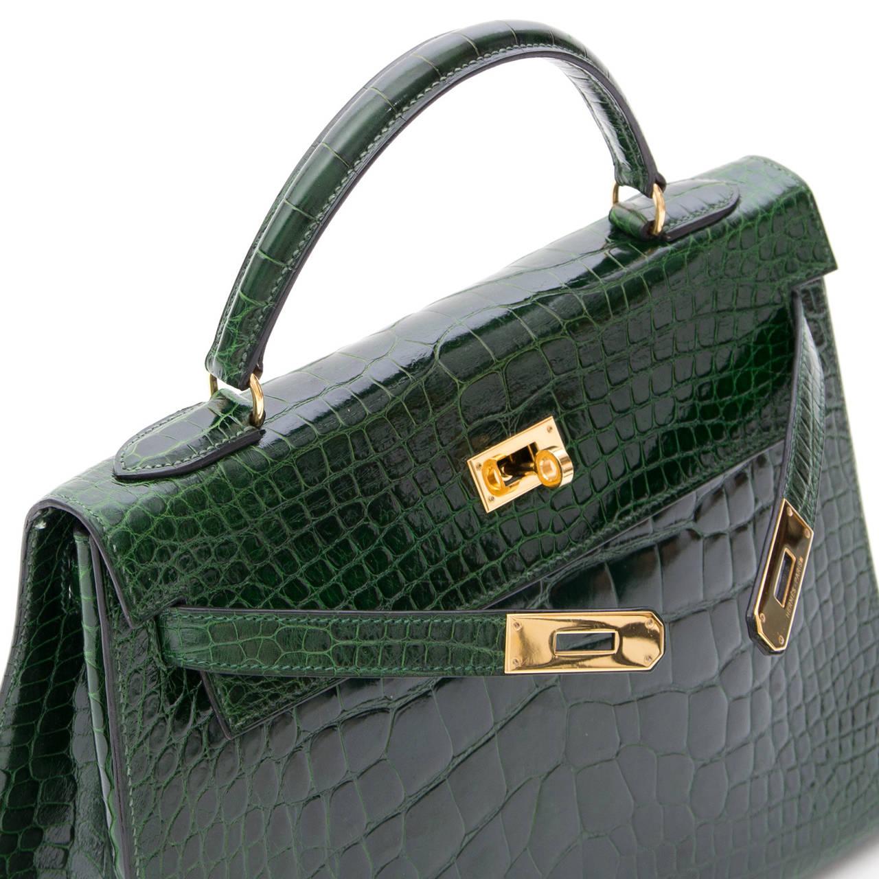 Hermes Kelly Alligator Lisse Vert Emerald  32 7