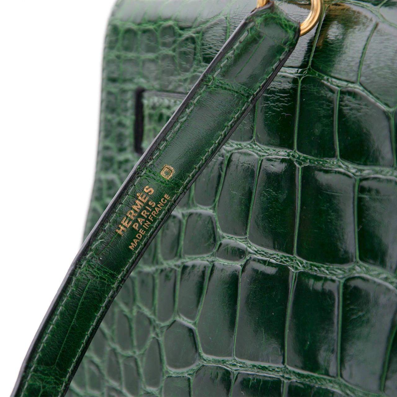 Hermes Kelly Alligator Lisse Vert Emerald  32 9