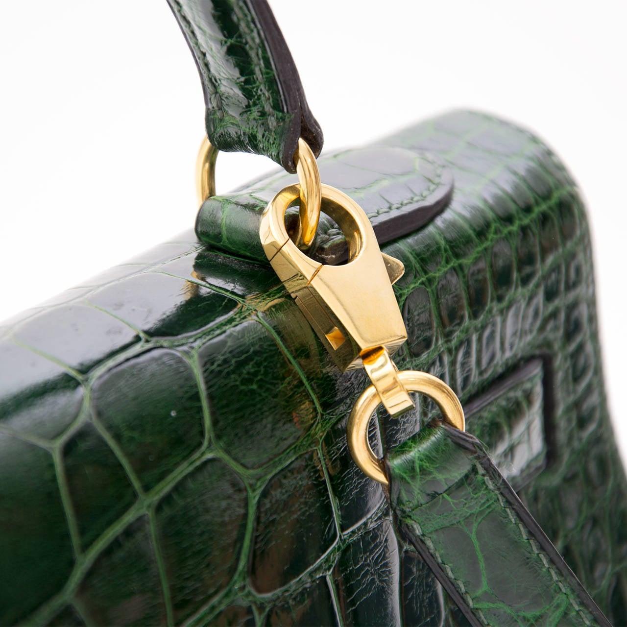 Hermes Kelly Alligator Lisse Vert Emerald  32 10
