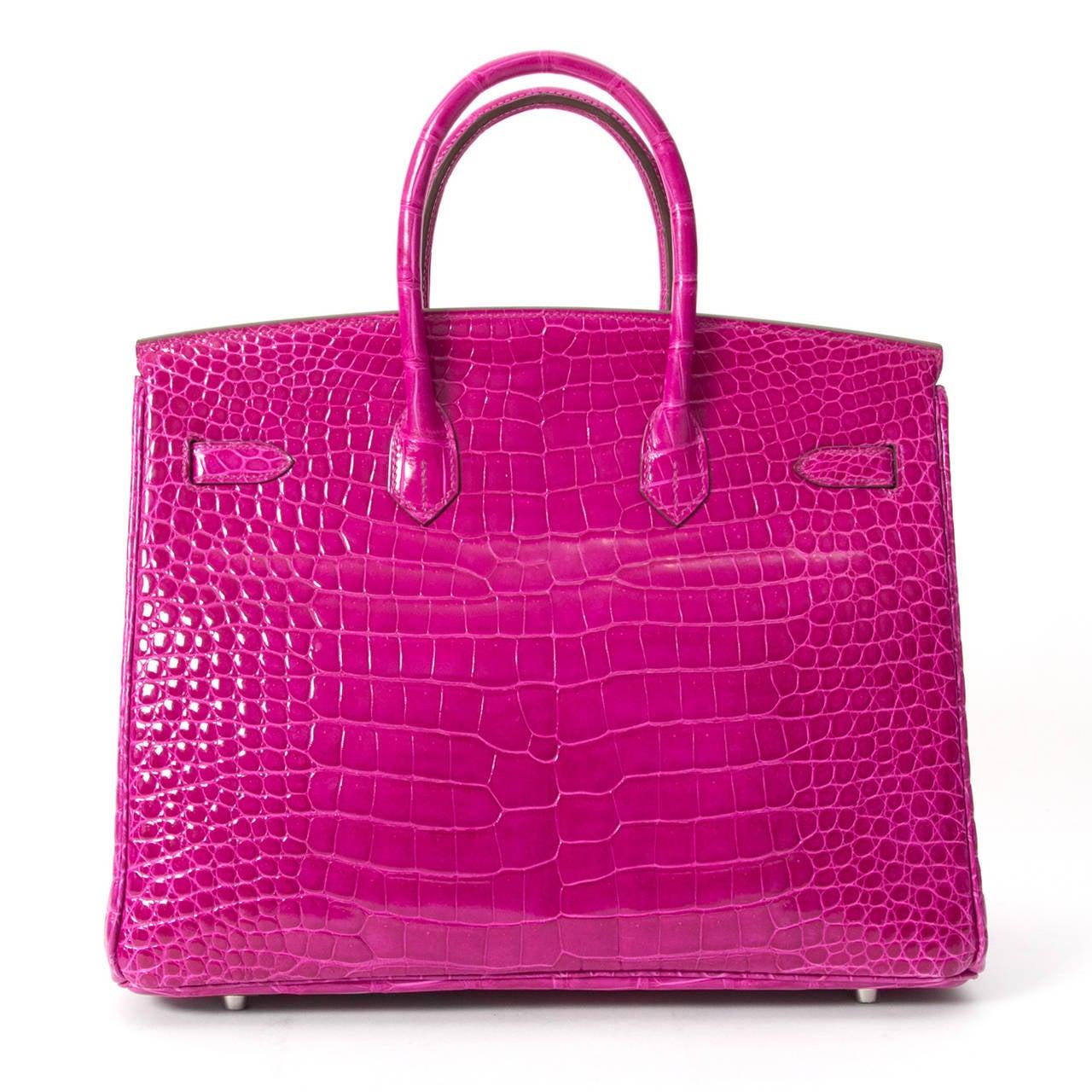 Women's Hermès Birkin Corocodile Porosus PHW Rose Sheherazade 35