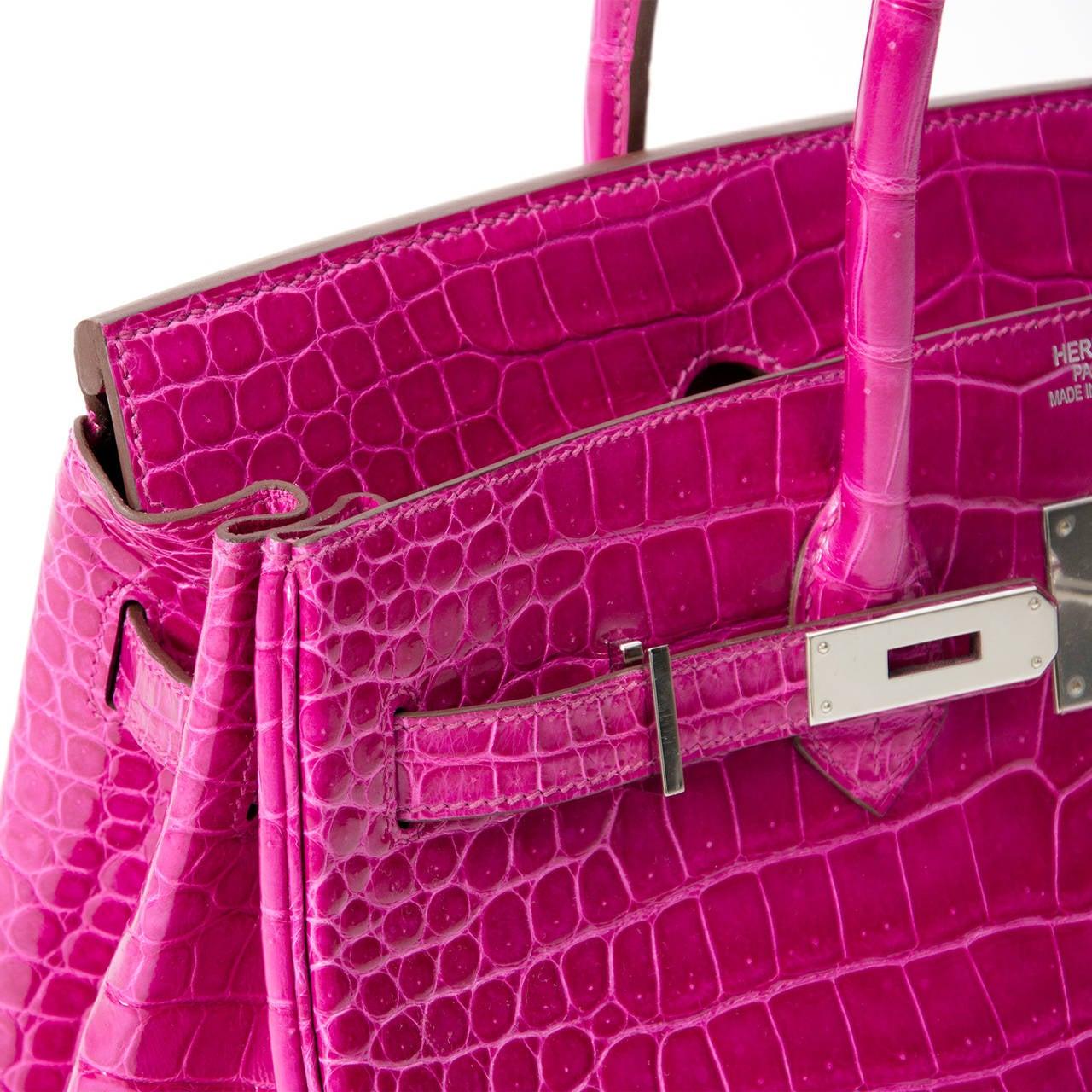 Hermès Birkin Corocodile Porosus PHW Rose Sheherazade 35 3