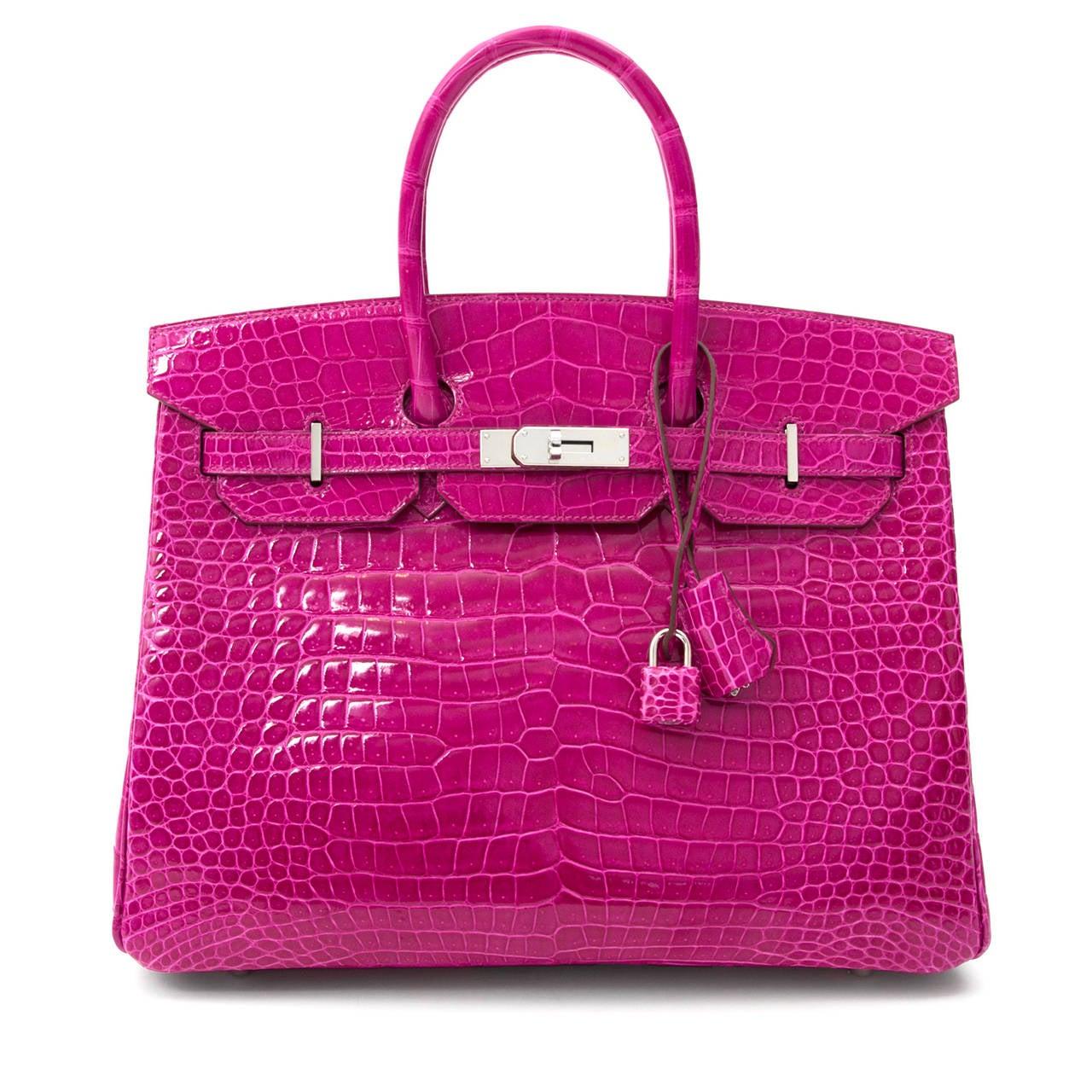 Hermès Birkin Corocodile Porosus PHW Rose Sheherazade 35 2
