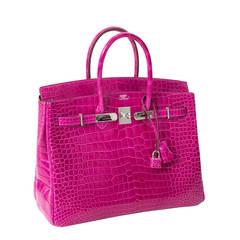 Hermès Birkin Corocodile Porosus PHW Rose Sheherazade 35
