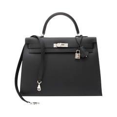 BRAND NEW Hermès Kelly II Sellier 35 Veau Sombrero Black PHW