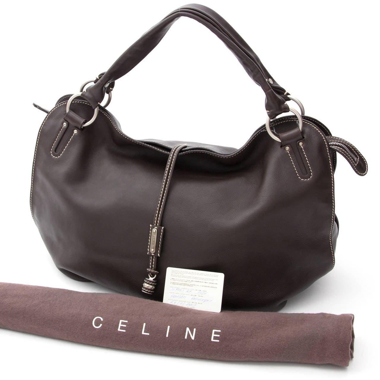 Celine Bittersweet Dark Brown Large Hobo Bag For Sale at 1stdibs